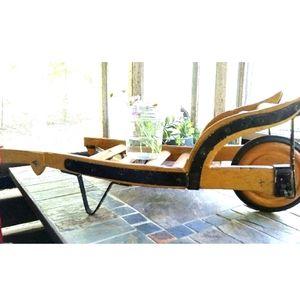 Vintage Wood Wheelbarrow Plant Stand Home Decor